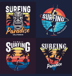 Vintage colorful surfing prints set vector