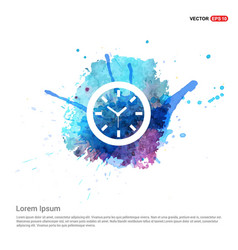 wall clock icon - watercolor background vector image