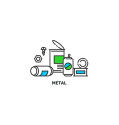 waste metal recycle concept icon in line design vector image