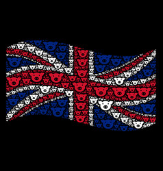 Waving british flag pattern of pig head icons vector