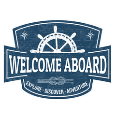 welcome aboard sign or stamp vector image