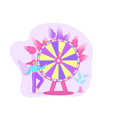 wheel fortune and girl roulette luck flat vector image