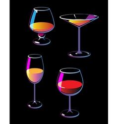 Wine champagne martini cognac vector image