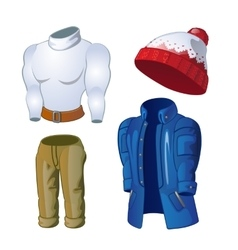 Winter clothes jacket hat sweater and pants vector