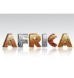 Word africa with animal fur and ethnic decoration vector image