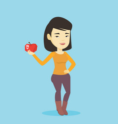 young woman holding apple vector image