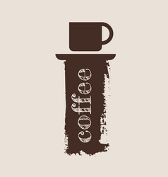 grunge brush stroke with a cup of coffee vector image