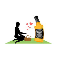 lover alcohol drink man and bottle of whiskey on vector image vector image