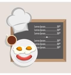 menu breakfast restaurant fried egg sausage and vector image