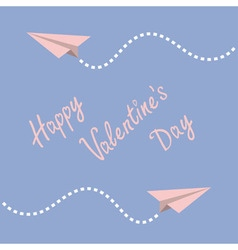 Two origami paper plane Dash line in the sky Frame vector image vector image