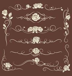Vintage flourish ornaments with roses vector