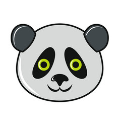cartoon panda icon on white background vector image vector image