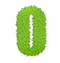 Uppecase letter O consisting of green leaves vector image vector image