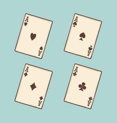 Vintage black four aces cards vector