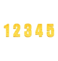 Cheese alphabet set Numbers 1-5 vector image