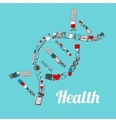 DNA helix with sketched medical icons vector image