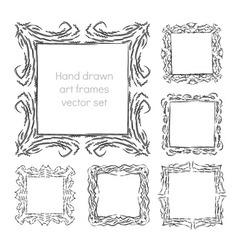 hand drawn art frames vector image