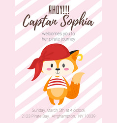 pirate kid party poster template vector image vector image