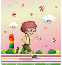 A curly boy running vector