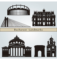 Bucharest landmarks and monuments vector