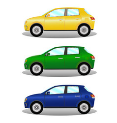 car kit hatchback in three colors vector image vector image