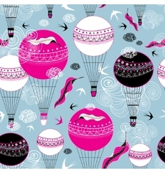 Graphic design of balloons and swallows vector image vector image