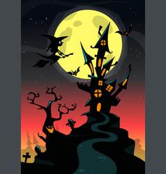 halloween haunted house cartoon vector image