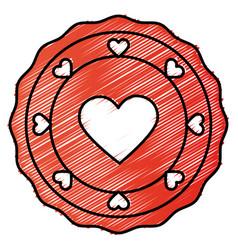 Heart love lace card vector
