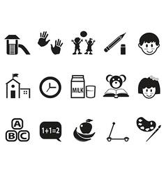 preschool icons set vector image vector image