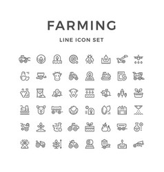 set line icons of farming and agriculture vector image vector image