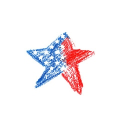 Watercolor star with american flag vector