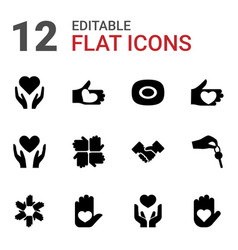 12 hands icons vector