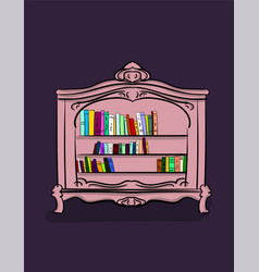 a small low cabinet of lilac color with different vector image