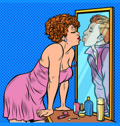 A woman kisses a man reflection in mirror vector