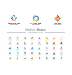 abstract connections creative symbols set global vector image