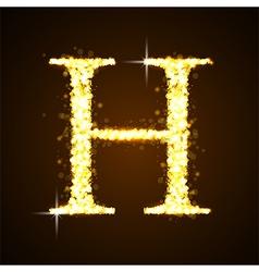 Alphabets H of gold glittering stars vector