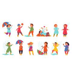 autumn children walking cute kids funny kid play vector image