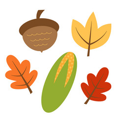 autumn set leaves and corn vector image