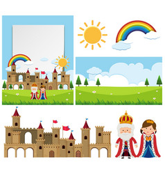 background template with king and queen vector image
