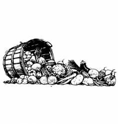 Barrel of vegetables vector