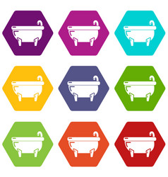 bathtub icons set 9 vector image