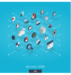 big data integrated 3d web icons digital network vector image