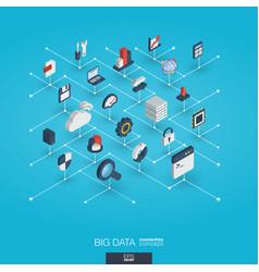 Big data integrated 3d web icons digital network vector