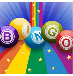 Bingo balls on rainbow over blue background vector