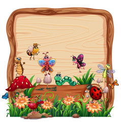 Blank wooden board in nature with animal garden vector