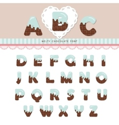 Blue cream melted on chocolate alphabet vector image