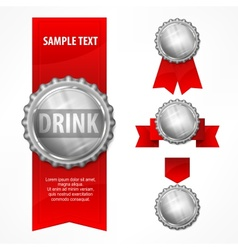 Bottle caps red ribbon on vector image