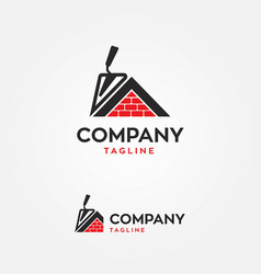 Brick house with trowel logo icon vector