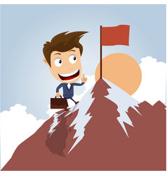 businessman on the top of a mountain vector image