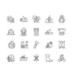 campsites line icons signs set outline vector image